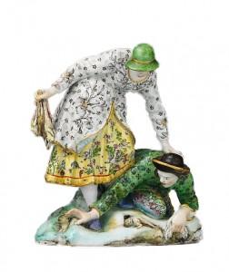 «Ловцы кроликов», мягкий фарфор, высота 16,5 см. Статуэтка создана                                         ок.1755-1759 г.г. первым модельером Каподимонте Джузеппе Гриччи.
